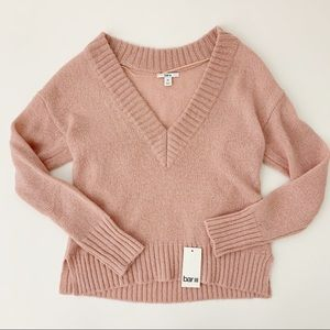 Bar III Deep V Neck Ribbed Sweater Pink Blush